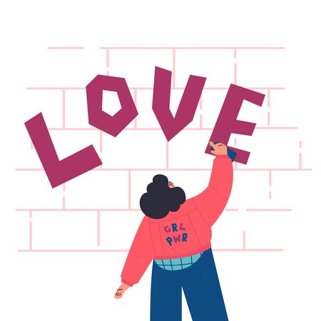 Happy confident woman in jeans jacket draws graffiti on the brick wall.Love lettering.Valentines Day.look from the back.Flat cartoon characters on white background.Colorful vector illustration