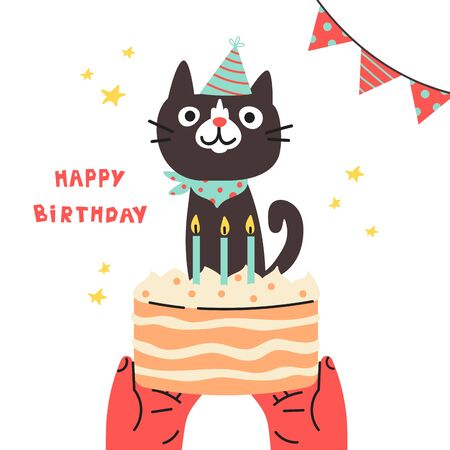 Pet birthday party.Cat in festive cap.Happy Birthday lettering.Lovely kitty with cake.Hand drawn pet.Greeting card.Invitation.Vector flat cartoon illustration isolated on white background.  イラスト・ベクター素材