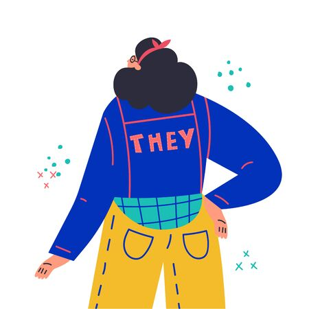Young woman standing,look from the back.Inscription They on jacket.Gender-neutral movement.Girl without gender stereotypes.Flat cartoon character on white background.Colorful vector illustration
