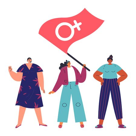 Happy women standing together and waving the flag with a Venus sign.Group of female friends,union of feminists,sisterhood.Flat cartoon characters on white background.Colorful vector illustration