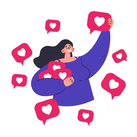 Young happy woman grabbing like notifications.Woman addicted to social media and online feedback.Addiction to internet approval and validation.Character on white background.Colorful illustration