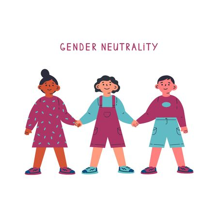 Gender neutral child clothing.Children standing together and holding hands.Gender neutrality.Blu,pink.Break the binary concept.Cartoon character on white background.Colorful vector illustration  イラスト・ベクター素材