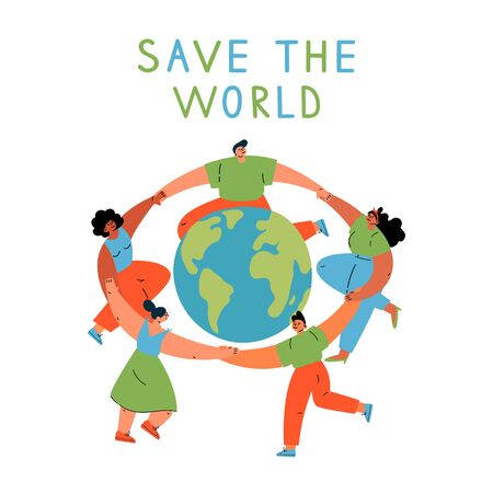 Group of different young women and man dancing around the Earth globe, holding hands.Eco and environment friendly ecological concept.Cartoon characters.Colorful vector illustration on wite background.  イラスト・ベクター素材