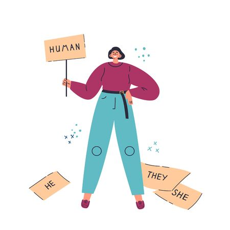 Young woman standing with placard.Inscription she,he,they.Gender-neutral movement.Teenager without gender stereotypes.Flat cartoon character on white background.Colorful vector illustration  イラスト・ベクター素材