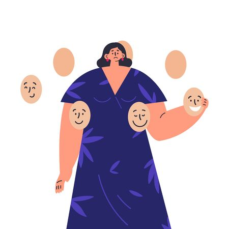A young sad brunette woman in dress holds mask with positive emotions.Concept of hiding personality or individuality, psychological problem.Flat cartoon colorful vector illustration.Change the mask.