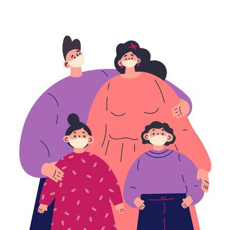 Novel coronavirus 2019-nCoV, family in white medical face mask.Children and parents.Coronavirus quarantine.Cartoon character on white background.Colorful vector illustration