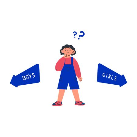 Gender neutral child with question mark.Gender neutrality.The child does not know where to go.Arrows with inscription girls boys.Cartoon character on white background.Colorful vector illustration