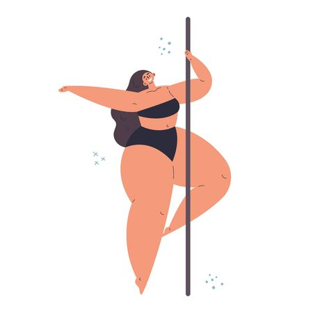 Plus size confident girl dancing on pylon.Elegant women sport.Love your body.Body positive concept.Flat cartoon character on pink background.Colorful vector illustration
