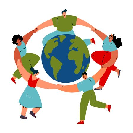 Group of different young women and man dancing around the Earth globe, holding hands.Happy Esrth day concept.Cartoon characters.Colorful vector illustration isolated on wite background.