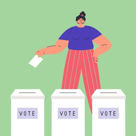 Confident happy woman is voting.Vote box.Woman chooses whom to vote for.Women have rights.Feminism concept.Flat cartoon character isolated on white background.Colorful vector illustration.