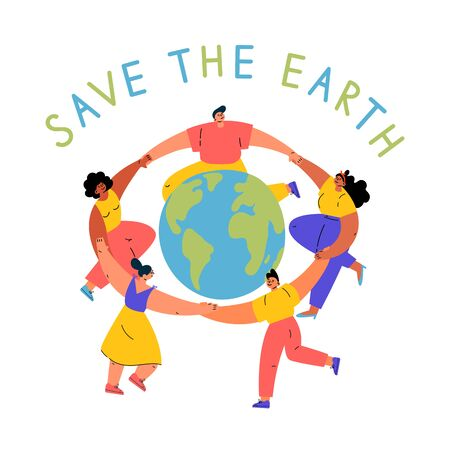 Group of different young women and man dancing around the Earth globe, holding hands.Eco and environment friendly ecological concept.Cartoon characters.Colorful vector illustration on wite background.