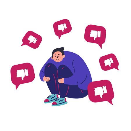Sad, unhappy man suffers from dislike notifications.Depressed teenage boy.Man addicted to social media and online feedback.Character on white background.Colorful vector illustration