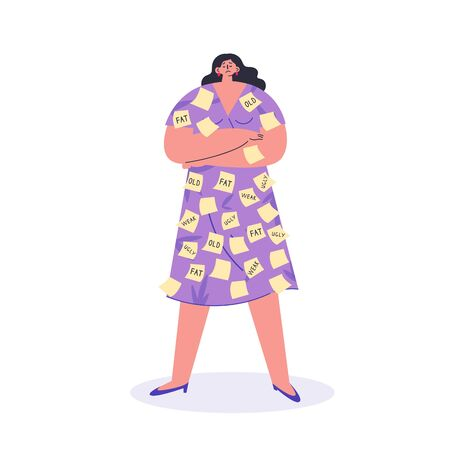 Bullying and ageism.Depressed woman with offensive inscriptions on stickers.Conflicts between people,violence at work.Flat cartoon character isolated on white background.Colorful vector illustration.