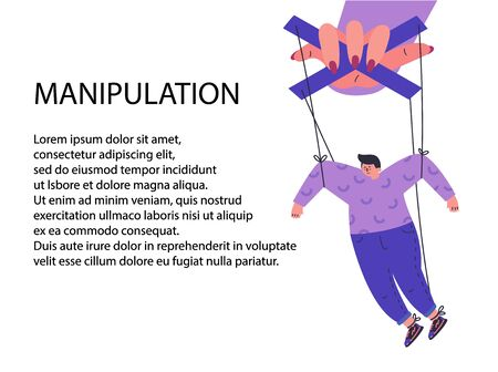 A woman manipulates and abuses a man.Manipulation female hand.Unhealthy toxic relationships where a woman manipulates a man.Flat cartoon character isolated on white background.Vector illustration.