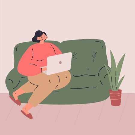Remote work during quarantine concept flat vector illustration.Freelancer character working from home using portable laptop.Work in comfortable conditions.Social media networks user.Self employed man Illustration