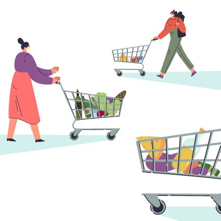 Coronavirus pandemic.Novel virus 2019-nCoV.Women buy products during quarantine in a protective white mask.Concept of coronavirus quarantine illustration.Template for your text.Flat character