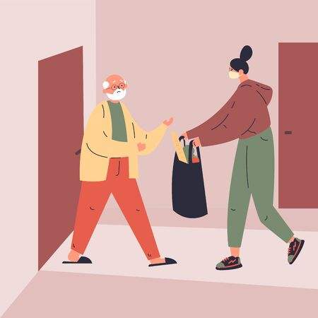 Coronavirus. Novel virus 2019-nCoV.Delivery of food to old man.A young woman helps an elderly neighbor.Caring for people at risk.Concept of coronavirus quarantine vector illustration.Flat character 벡터 (일러스트)