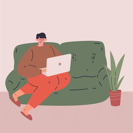 Remote work during quarantine concept flat vector illustration.Freelancer character working from home using portable laptop.Work in comfortable conditions.Social media networks user.Self employed man