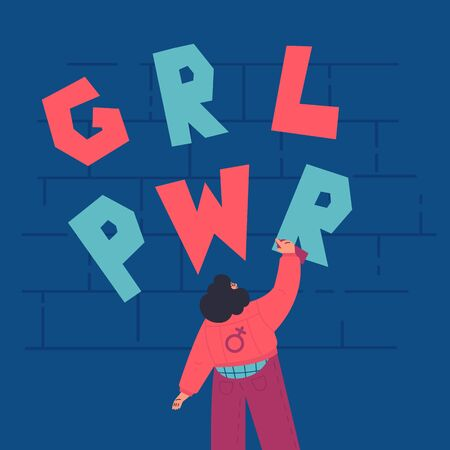 Happy confident woman draws graffiti on the brick wall.GRL PWR lettering.International women day.look from the back.Flat cartoon characters on white background.Colorful vector illustration Ilustração