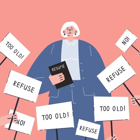 Age discrimination.Senior job candidate with resume.Refusal to work for an old woman.Employment problem of seniors.Ageism social problem, stop ageism, elderly employment difficulties concept.Vector