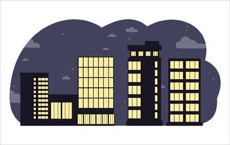 Black business centers buildings and modern city houses at night.Towers and buildings on the sky background. Flat cartoon design isolated on white background.Colorful vector illustration. Ilustração