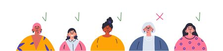 Age discrimination.Different job candidates.Refusal to work for an old woman.Employment problem of seniors.Ageism social problem, stop ageism, elderly employment difficulties concept.Vector Ilustração