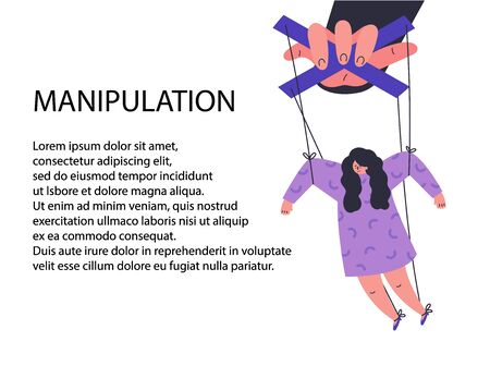 A man manipulates and abuses a woman.Manipulation male hand.Unhealthy toxic relationships.Template with text.Flat cartoon character isolated on white background.Vector colorful illustration.