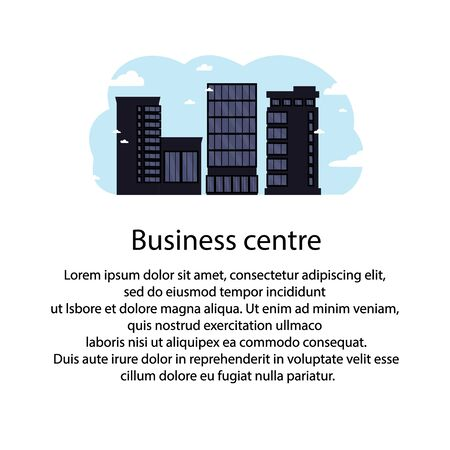 Black business centers buildings and modern city houses.Towers and buildings on the sky background.Template for your text.Flat cartoon design isolated on white background.Colorful vector illustration.