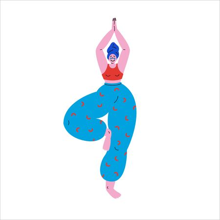 Happy plus size girl standing in tree pose yoga position.Beauty concept.Beautiful woman after a bath with a towel on the head puts patches under the eyes and does the morning ritual practices yoga