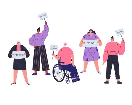 People with different characteristics are discriminated against.Different people not fit the demands of society.Signs of discrimination against people.Too old,too fat,too young,too hight.Vector flat Ilustração