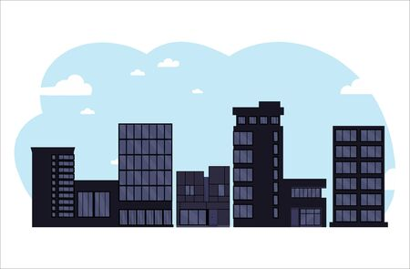 Black business centers buildings and modern city houses.City illustration.Towers and buildings on the sky background. Flat cartoon design isolated on white background.Colorful vector illustration. Ilustração
