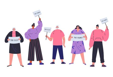People of all ages are discriminated against by age.Different people not fit the demands of society.Ageism concept.Too old,too young.Employment problems.Cartoon character.Vector colorful illustration. Vecteurs