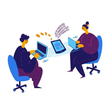 Smart contract concept.A man and a girl conclude a blockchain contract via laptop.Payment for services by bitcoins.Girl and guy sitting at laptops and working on electronic contract.Illustration flat
