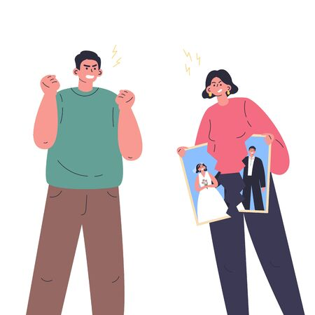 Conflict between woman and man.Quarrel of young male and female.Relationship crisis.Angry couple wants to divorce.Flat cartoon characters isolated on white background.Colorful vector illustration.
