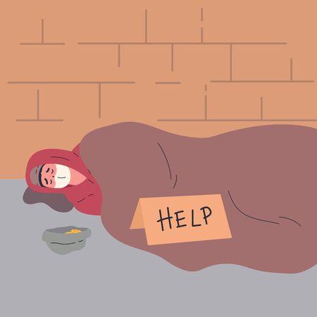 Homeless man begging money and needing help.Homeless man in medical mask during quarantine sleeps outside.Flat cartoon character isolated on white background.Colorful vector illustration. Ilustração