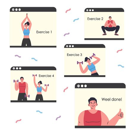 Coronavirus pandemic.Online courses of workout exercise.Online workout.Video training with the trainer.Doing sports during coronavirus quarantine.Vector colorful illustration.Flat cartoon character Ilustração