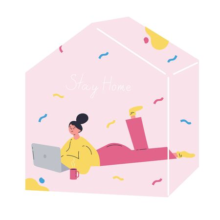 Girl with laptop resting at home.Self isolation, quarantine due to coronavirus.Stay home global period.Entertainment.Flat cartoon character isolated on white background.Colorful vector illustration. Ilustração