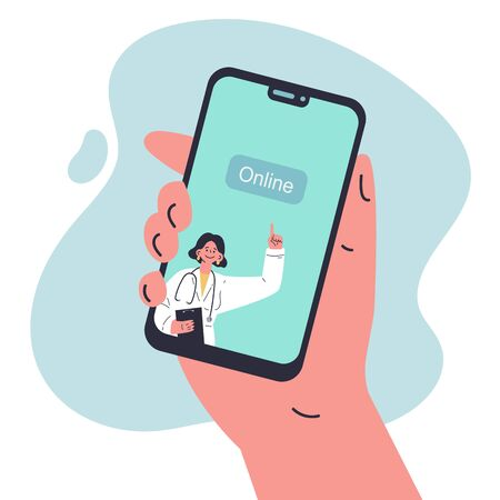 Coronavirus pandemic.Medicine during quarantine.Doctor online on mobile phone.Doctor with online medical consultation concept.Healthcare services,Vector colorful illustration.Flat cartoon character