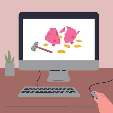 Coronavirus pandemic.Broken piggy bank with savings.Concept of economic crisis during quarantine.Online banking.The last money.Broken piggy bank with coins and hammer.Flat vector illustration.