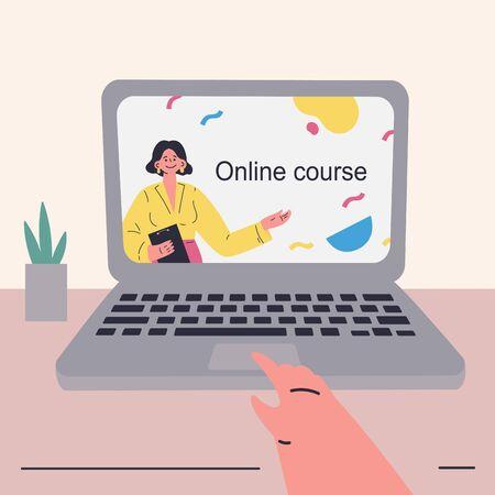 Coronavirus pandemic.Online courses and video lessons on laptop.Education during coronavirus quarantine. Student studying online in isolation.Vector colorful illustration.Flat cartoon character Ilustração