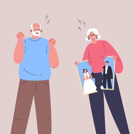 Conflict between woman and man.Quarrel of old male and female.Relationship crisis.Angry couple wants to divorce.Flat cartoon characters isolated on white background.Colorful vector illustration. Ilustração