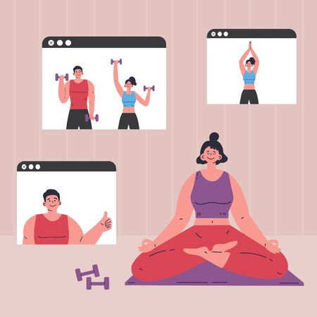 Coronavirus pandemic.Online courses of yoga and sport.Online workout.Video training with the trainer.Doing sports during coronavirus quarantine.Vector colorful illustration.Flat cartoon character Ilustração