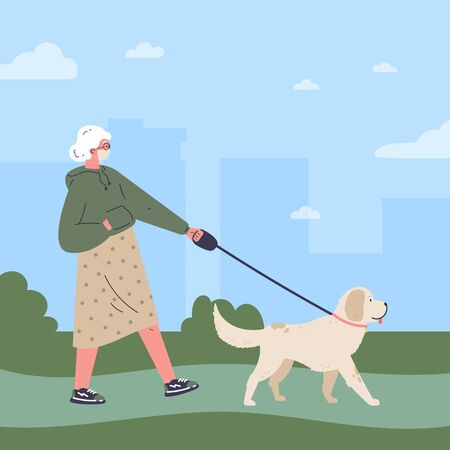 Old woman in white medical mask walking a dog in the park.Quarantine walk.Healthy active lifestyle.Flat cartoon character.Colorful vector illustration.