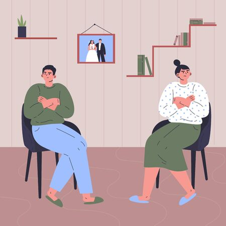 Conflict between woman and man.Quarrel of young male and female.Relationship crisis.Couple offended at each other.Flat cartoon characters isolated on white background.Colorful vector illustration. Ilustração