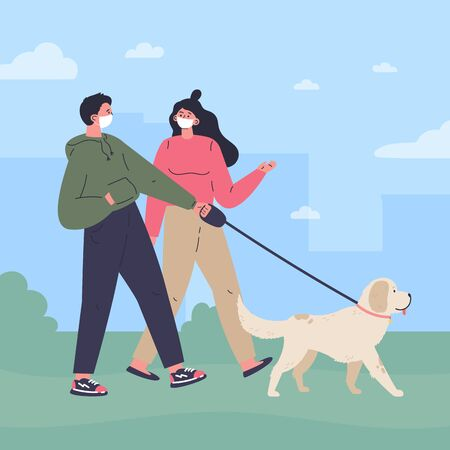 Couple in white medical mask walking a dog in the park.Quarantine walk.Healthy active lifestyle.Flat cartoon characters.Colorful vector illustration.