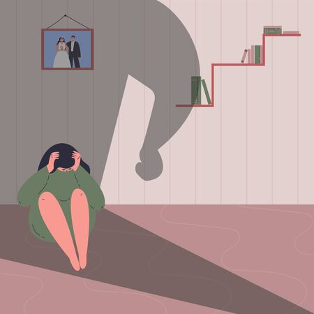 Domestic violence concept.Family conflict situations.Man beats woman.Violence against women.A man attacked a woman sitting on the floor.Flat cartoon character.Colorful vector illustration. Ilustração