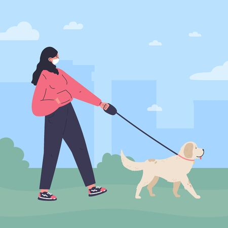 Woman in white medical mask walking a dog in the park.Quarantine walk.Healthy active lifestyle.Flat cartoon character.Colorful vector illustration.