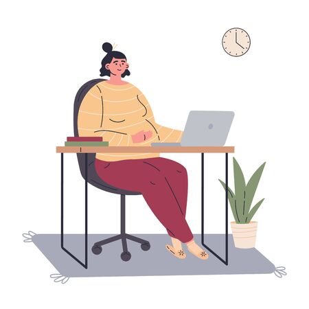 Pregnant woman working remotely during quarantine at home.Working on computer in a child care decree.Happy future mom spends time at home.Vector colorful illustration.Flat cartoon character