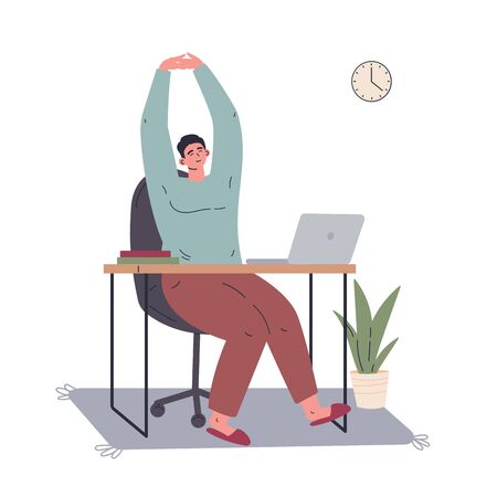 Man working remotely during quarantine at home.Freelancer working on computer and doing exercises.Young man sitting at the desk at home.Vector colorful illustration.Flat cartoon character Ilustração