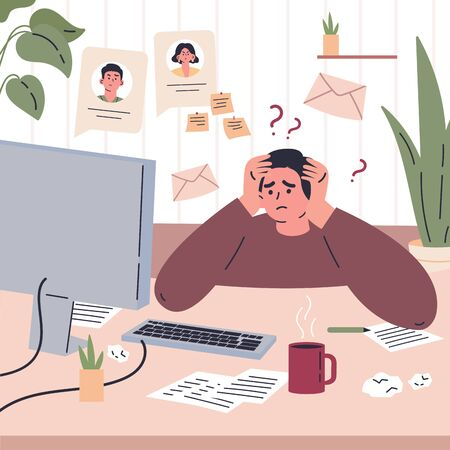Man working remotely during quarantine at home.Freelancer is stressed through a lot of work.Young man sitting at the desk in his room and working.Vector colorful illustration.Flat cartoon character Ilustração